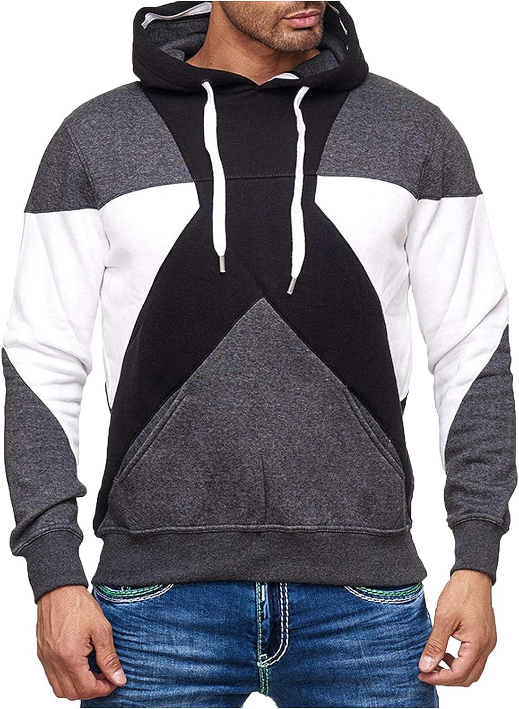 Huangse Men's Fashion Color Block Long Sleeve Patchwork Sweatshirt Zip Up Drawstring Hooded Jogging Athletic Wear