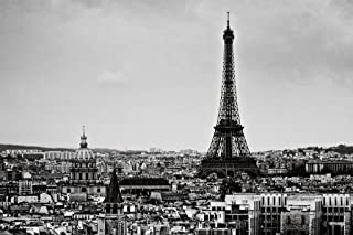 View of The City Eiffel Tower Paris France Black and White B&W Photo Photograph Cool Wall Decor Art Print Poster 36x24