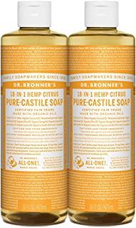 Dr. Bronner's - Pure-Castile Liquid Soap (Citrus, 16 ounce, 2-Pack) - Made with Organic Oils, 18-in-1 Uses: Face, Body, Hair, Laundry, Pets and Dishes, Concentrated, Vegan, Non-GMO
