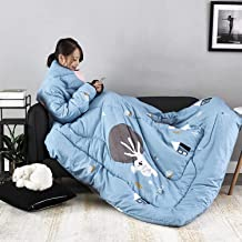 Lazy Quilt Blanket with Sleeves, Multifunction Wearable Blanket, Polyester TV Blanket for Couch, Sofa Home Nap,B,59 * 78.7...
