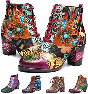 Women's Leather Ankle Bootie Warm Lining Splicing Pattern Snow Boots Side Zipper Block Heel Boots