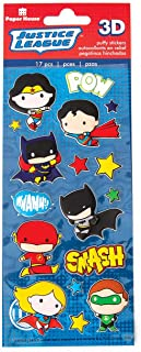 Paper House Productions Puffy Stickers, Justice League Chibi Heroes, 3-Pk, 3 Piece
