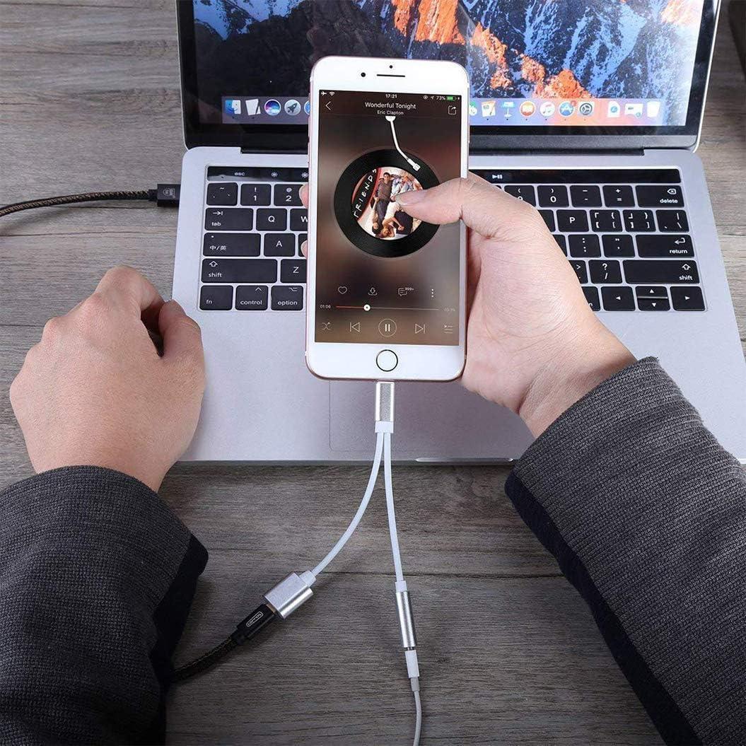 Kopfh/örer Adapter f/ür iPhone Audio Kopfh/örer AUX auf 3.5 mm Kopfh/örer Jack Adapter Musik+Laden Kopfh/öreradapter Dongle Kompatibel mit iPhone 11//XS MAX//XR//X//8//7//6//5//SE iPad Silber