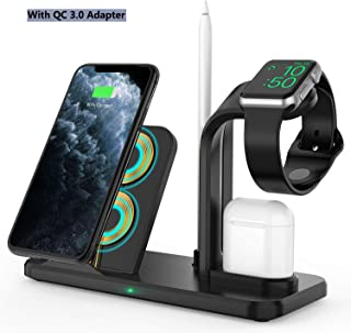 Wireless Charger Stand,4 in 1 Qi-Certified Charging Station for iPhone 11 Pro/XR/8 Plus/XS/X/Samsung s10, Charger Stand for Apple Watch Series 5/4/3/2/1,Docking Holder for Airpods,with QC Adapter