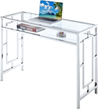 Convenience Concepts 135075GLCRO Town Square Chrome Shelf Desk, Clear Glass Frame