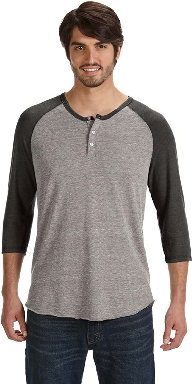 Alternative Quarter Sleeve Henley Tee, Eco GreyEco Black, S (Pack of 5)