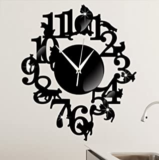 (Black Color) NEW home decor wandklok creative wall watch reloj Acrylic Cats Lovery large