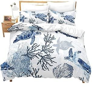 Erosebridal Turtle Bedding Sets Queen White Blue Hawaiian Duvet Cover Set,Tortoise Bedspreads Beach Theme Quilt Cover Underwater Children Comforter Cover for Summer