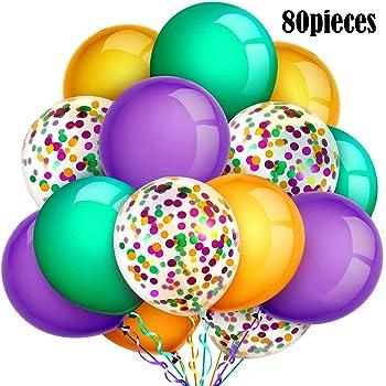 Set of 10 Purple Gold and Green Mardi Gras Mask Celebration 11 Latex Balloons Artisan Owl
