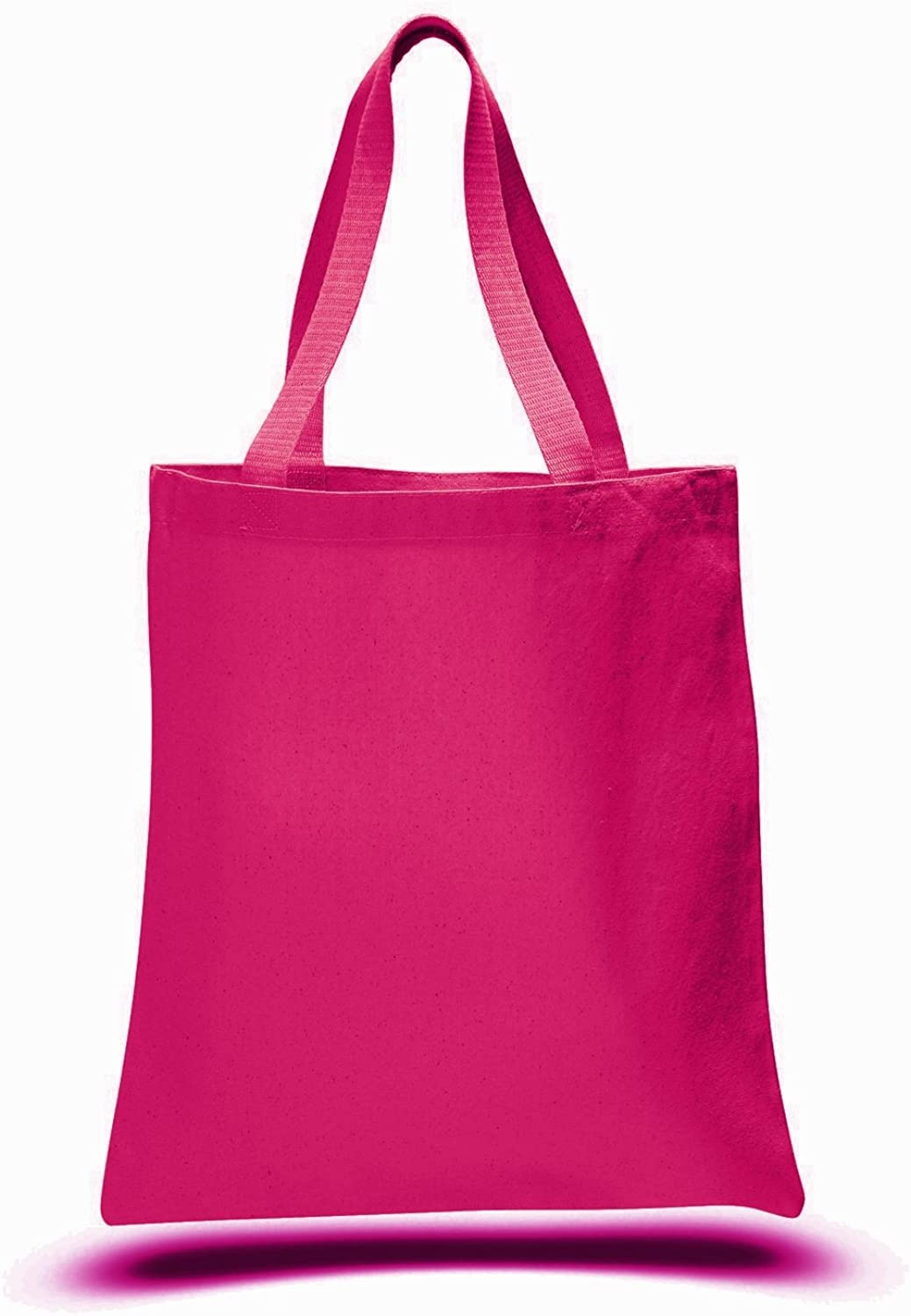 (12 Pack) 1 Dozen  Heavy Cotton Canvas Tote Bags (Hot Pink)