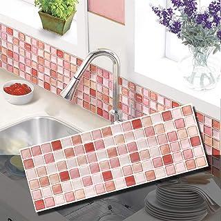 BEAUSTILE Decorative Tile Stickers Peel and Stick Backsplash Fire Retardant Tile Sheet (N.Red) (5)
