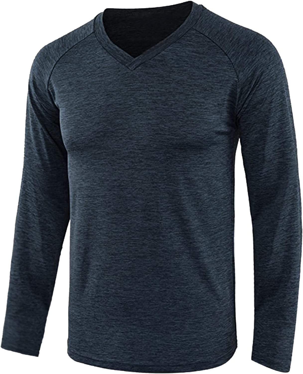 FUNEY Mens Casual Basic Lightweight Workout Shirts UPF 50+ Sun Protection Raglan Solid Tops Long Sleeve Tee Shirts for Men