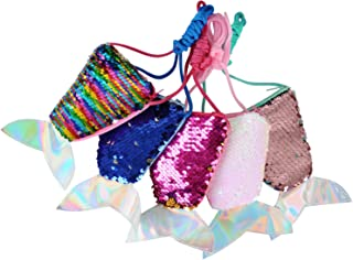 Sparkly Bling Mermaid Tail Sequin Cross Body Coin Purses For Kids Little Girls, Little Mermaid Birthday Party Favors Goodie Bag Fillers Xmas Presents