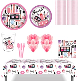 لوازم حفلات مكياج سبا، 85 قطعة من أدوات المائدة للاستعمال مرة واحدة مع أطباق مكياج سبا، أكواب، قش، مناديل، بالونات لحفلات ...