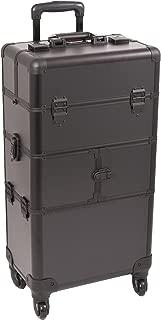 Sunrise Lucia 2-In-1 Rolling Makeup Case Professional Nail Travel Organizer Box, Black Matte, 24 Pound