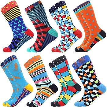 BONANGEL Chaussettes Homme Fantaisie,Lot de Chaussettes pour Hommes Coton Fantaisie Imprim¨¦ Socks 39-46 Multicolore,Cadeau Homme