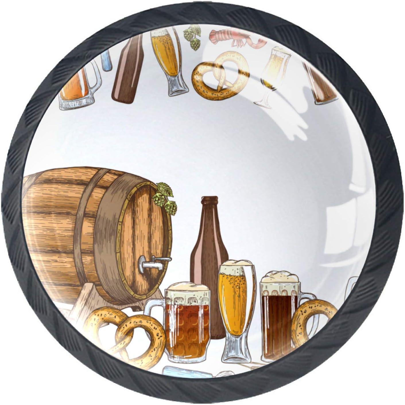 Gbziyjk Tiradores de cajón para decoración de Armario de Cocina de Oficina en casa,Fronteras horizontales Coloridos Iconos de Cerveza