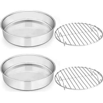 Round Cake Pan with Rack Set, E-far 9½-inch Stainless Steel Cake Pans and Baking Cooling Racks, Non Toxic & Healthy, Mirror Polished & Dishwasher Safe - 4 Pieces (2 Pans + 2 Racks)