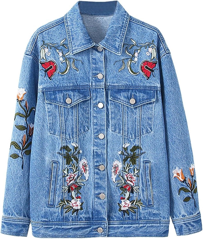 July Denim Jacket Women Fashion Long Sleeve Loose Embroidery Jacket Denim Jacket (color   bluee, Size   M)