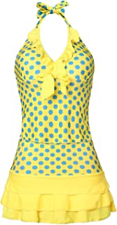 MiYang Women's Polka Dot Halter Push up Slim Tankini Padded Swimsuit