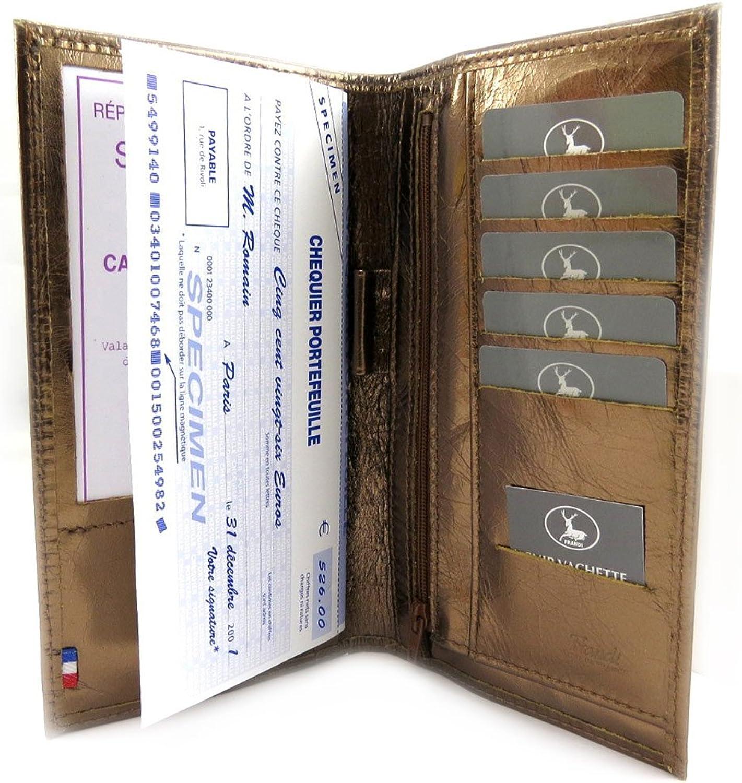 Leather checkbook holder 'Frandi' brown metal.