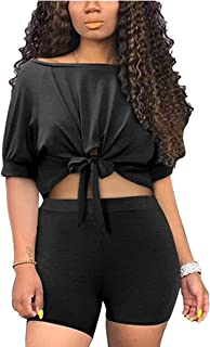 Women Casual 2 Piece Outfit Short Sleeve Boat Neck Tie Waist Crop Tops and Bodycon Short Pants Set Jogging Suits Rompers