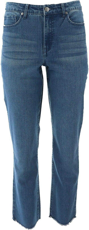 Issac Mizrahi True Denim Straight Leg Frayed Jeans Medium Indigo 20W New A372070
