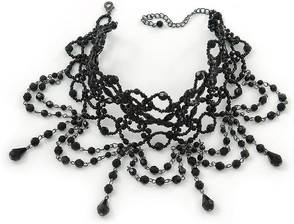 Statement Victorian/ Gothic/ Burlesque Black Acrylic, Glass Bead Choker Necklace - 27cm Length/ 7cm Extension