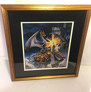 Completed For Cross Stitch Wizard Battling For Dragon For Vintage Needlepoint Framed Beauty