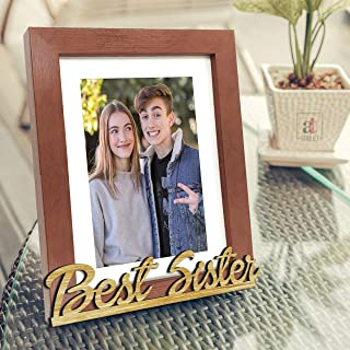 Art Street Synthetic Wood Best Sister Customize Table Photo Frame (Brown, 6 x 8 Inches)