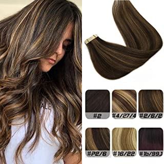 Labhair 24inch Tape in Hair Extensions Ombre Dark Brown Highlighted Light Brown 100% Remy Human Hair Extensions Tape in 50g 20pcs