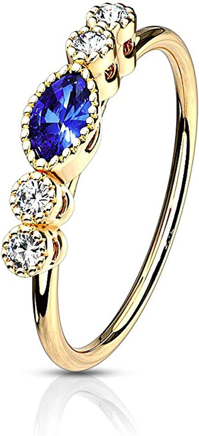 Covet Jewelry Clear CZ with Saphire Marquise CZ Center Top Surgical Steel Bendable Nose Hoop Rings