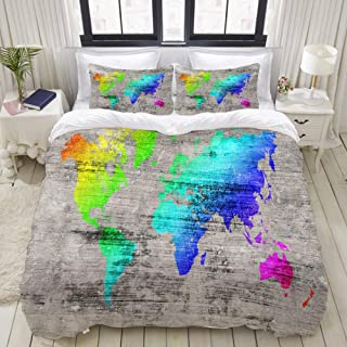 """Mokale Bedding Duvet Cover 3 Piece Set - Colorful World map on The Wood Background - Decorative Hotel Dorm Comforter Cover with 2 Pollow Shams - King 104""""x90"""""""