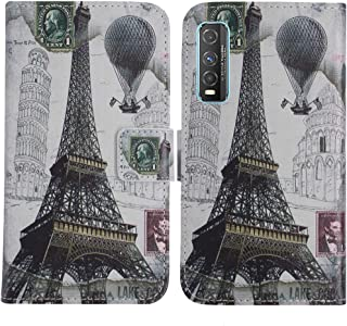 TienJueShi Eiffel Tower Fashion Stand TPU Silicone Book Stand Flip PU Leather Protector Phone Case For Vivo Y70t 6.53 inch...