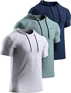 TSLA Men's Short Sleeve Pullover Hoodies, Dry Fit Running Workout Shirts, Athletic Fitness & Gym Shirt
