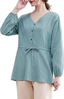Leepesx Women Blouse Tie Waist Button Up Long Lantern Sleeve V Ne Loose Casual Shirt s