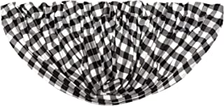 VHC Brands Farmhouse Kitchen Curtains Annie Rod Pocket Cotton Buffalo Check Balloon Valance, Black Country
