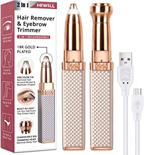 Eyebrow Trimmer, Rechargeable Facial Hair Remover for Women, 2 in 1 Eyebrow Razor and Painless Eyebrow Hair Remover with B...