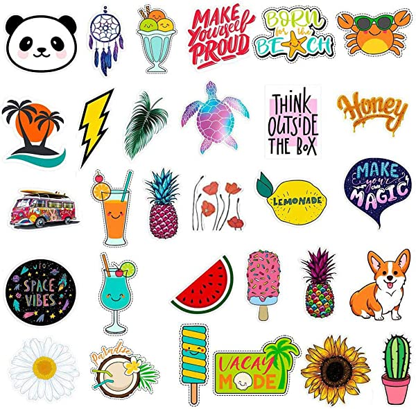 Leyerer 30 Different Stickers For Water Bottles Cute Waterproof Aesthetic Trendy Stickers For Teens Girls Perfect For Waterbottle Laptop Phone Skateboard Travel Extra Durable