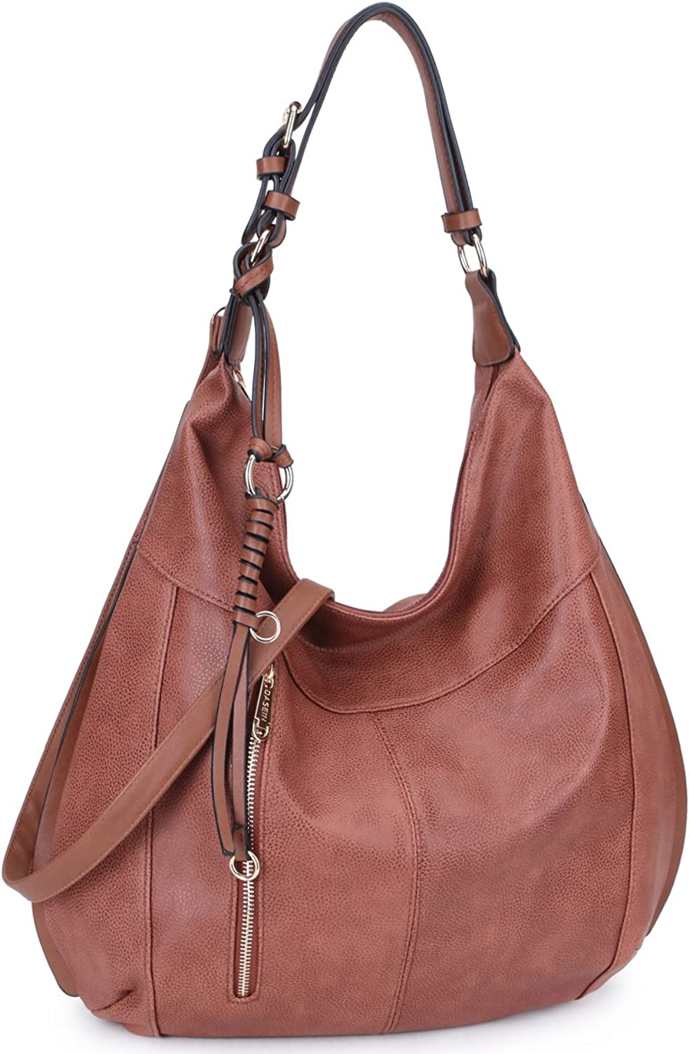 Dasein Womens Large Soft Hobo Bag Fashion Shoulder Bag Deisgner Purse (brownnew)