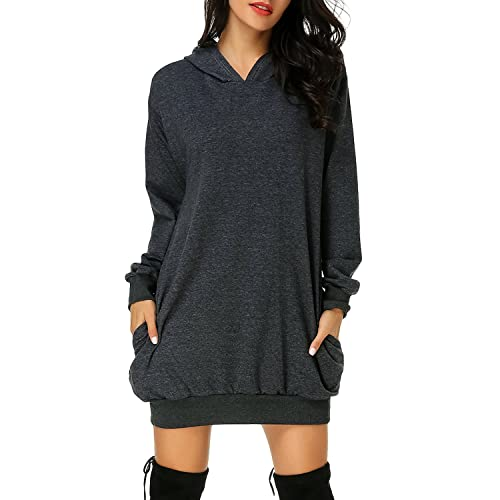 Auxo Women s Long Sleeve Hooded Pockets Pullover Hoodie Dress Tunic  Sweatshirt ef1e3899c4