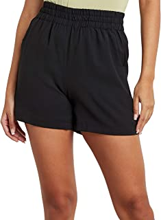 Elasticised Waistband Shorts with Side Pocket 80417601 For Women Closet by Styli