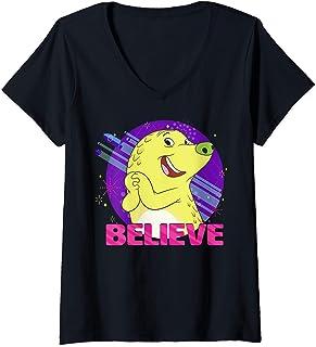 Femme Over The Moon Gobi Believe Portrait T-Shirt avec Col en V