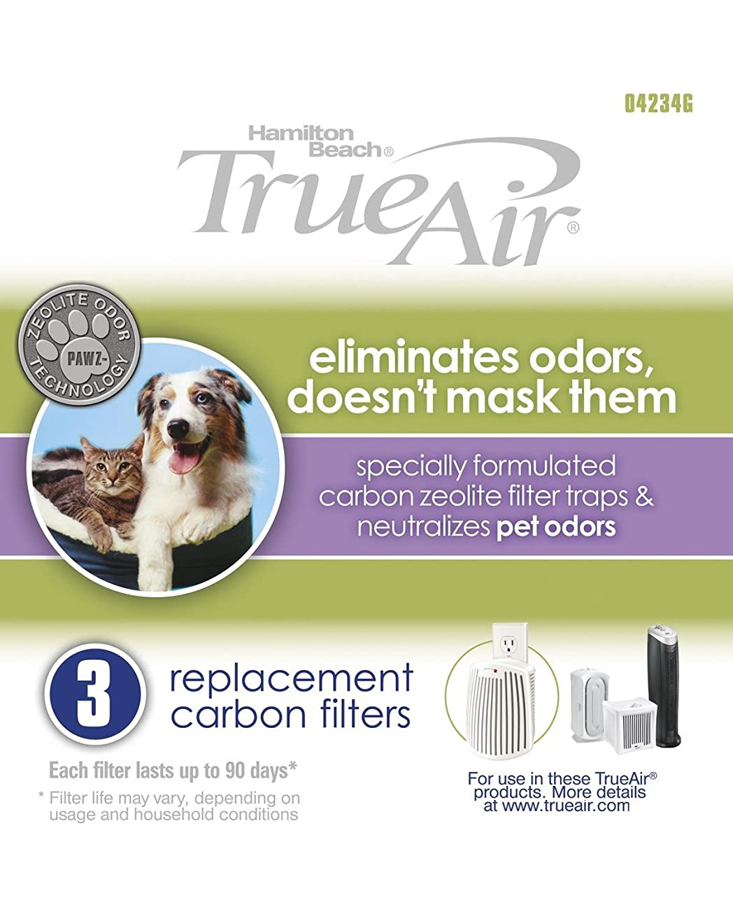 Hamilton Beach Replacement Carbon Pet Filter. Works with TrueAir 04384, 04386, 04532, 04532GM, & 04530. 3-Pack (04234G)