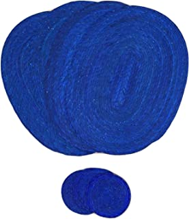 Royal Blue Placemats and Coasters – Set of 4 - Mexican Decor Style - Eco-Friendly, Handmade, Woven and Reversible - Great for Dining Table / Kitchen. Indoor / Outdoor use - Mantel Azul con Portavasos