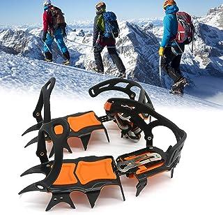 14 tänder stål isgripare spik för skor, halkskydd klättring vandring snö spikar kramponger klumpar grepp stövlar skydd kra...