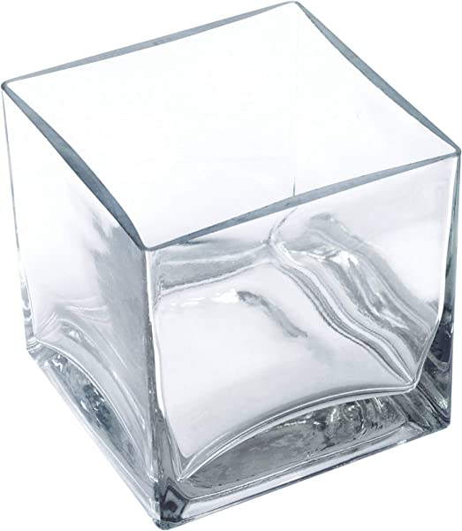 Clear Square Glass Vase Size 5x5x5 Inches Votive Floating Candle Holder And Floral Centerpiece Case Of 12