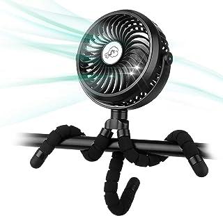 Winique Kinderwagenlüfter, batteriebetriebene Autositze Clip-on-Lüfter Persönlicher USB-Tischlüfter Luftzirkulator Ultra Leiser 3-Gang 360 ° drehbarer Handventilator 2600-mAh-Akku