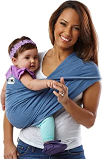 Baby K'tan Original Baby Wrap Carrier, Infant and Child Sling - Simple Wrap Holder for Babywearing - No Rings or Buckles - Carry Newborn up to 35 lbs, Denim, Women 10-14 (Medium), Men 39-42