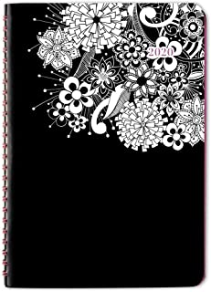 """Cambridge 2020 Weekly & Monthly Planner, 5-1/2"""" x 8-1/2"""", Small, FloraDoodle, Black and White (589-200-20)"""